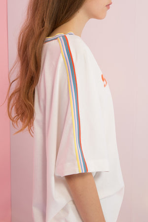 Oversized Space Out Printed Rainbow Collar Top - AMENPAPA Fashion