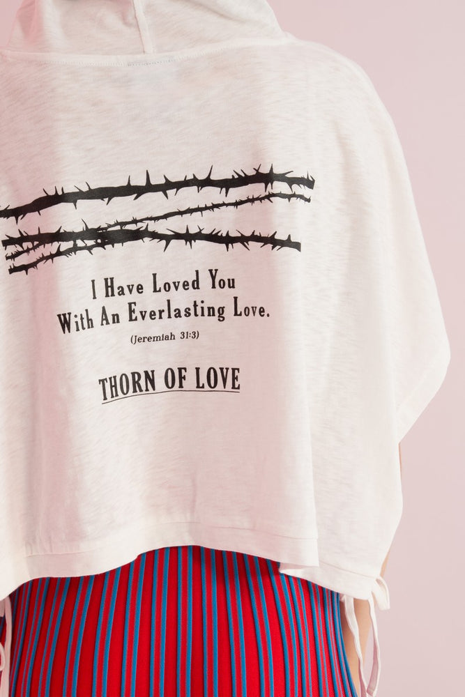Thorn Of Love Draped Hoodie - AMENPAPA Fashion