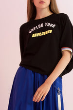 Unplug Your Brain Printed Jersey Top