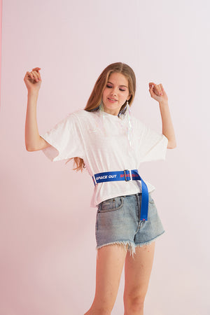 Belted Space Out Printed Tee