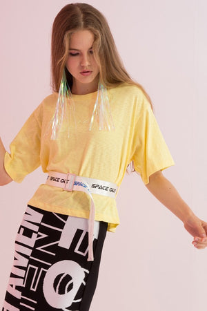 Belted Space Out Printed Tee - AMENPAPA Fashion