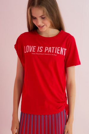 Love Is Patience Printed Asymmetric Jersey Top - AMENPAPA Fashion
