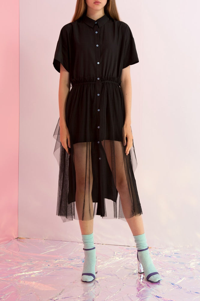 Button Down Striped Shirtdress with Tulle - AMENPAPA Fashion