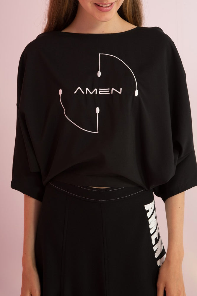 Amen Embroidered Open Back Top - AMENPAPA Fashion