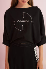 Amen Embroidered Open Back Top