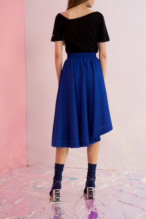 Asymmetric Crepe Midi Skirt - AMENPAPA Fashion