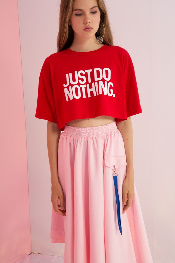 Just Do Nothing Printed Boxy Crop Top - AMENPAPA Fashion