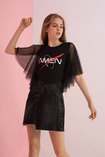 Amen Printed Tulle Sleeve Tee