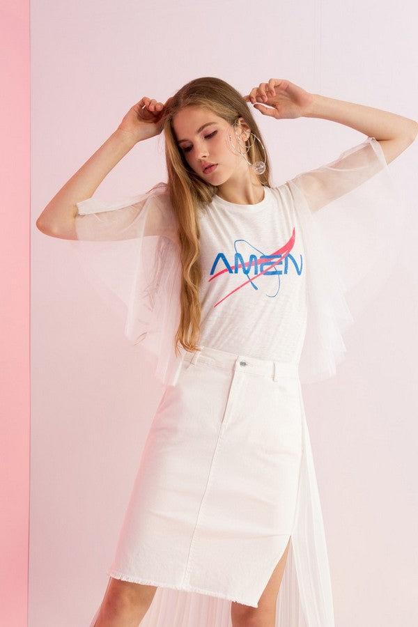 Amen Printed Tulle Sleeve Tee - AMENPAPA Fashion