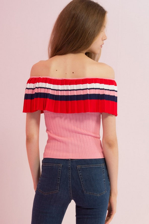 Off-Shoulder Ribbed Stretch Knit Top - AMENPAPA Fashion