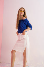 Twill Pencil Skirt with Pleated Chiffon Back
