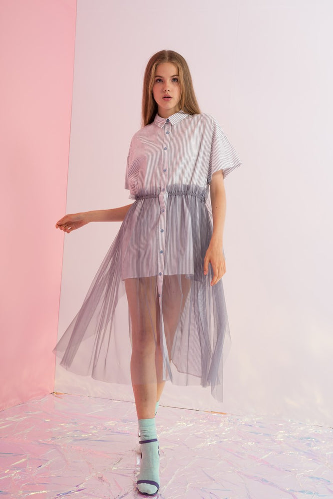 Button Down Striped Shirtdress with Tulle