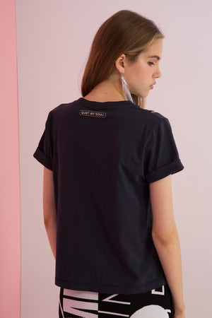 Need More Space Printed Tee with Shoulder Slits - AMENPAPA Fashion