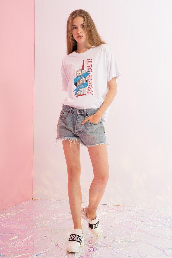 Oversized Phone Down Printed Tee
