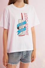 Oversized Phone Down Printed Tee - AMENPAPA Fashion