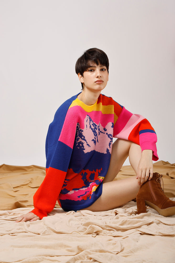 Mountains Intarsia Color-Block Sweater