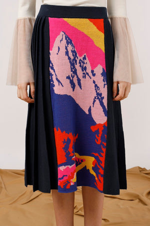 Mountains Intarsia Panel Midi Skirt - AMENPAPA Fashion