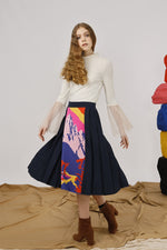 Mountains Intarsia Panel Midi Skirt