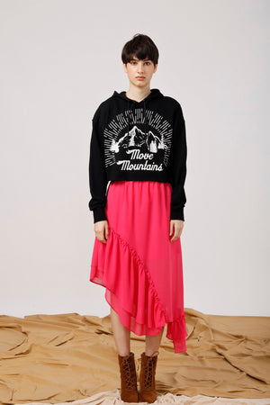 Cropped Hoodie with Vintage Mountains Print - AMENPAPA Fashion
