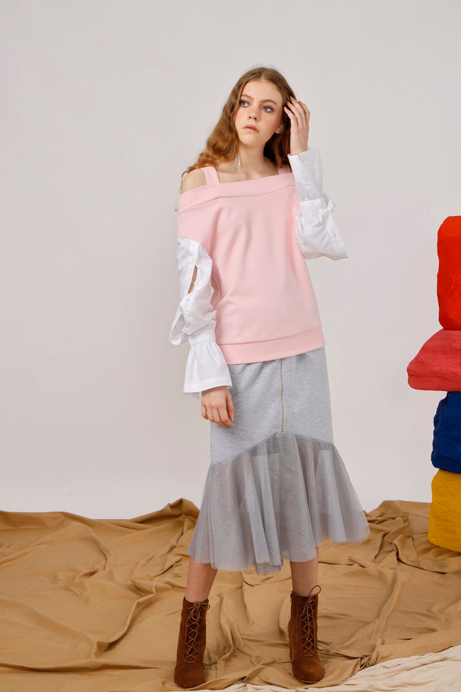 Off Shoulder Jersey Top with Cotton Poplin Sleeves - AMENPAPA Fashion