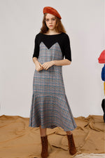 Houndstooth Maxi T-Shirt Dress - AMENPAPA Fashion