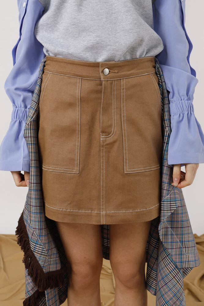 Asymmetric Wrap Effect Mini Skirt - AMENPAPA Fashion