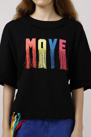 Move Fringed Embroidered Sweat Top