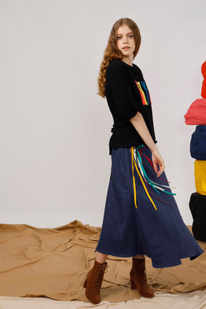 Asymmetric Twill Maxi Skirt