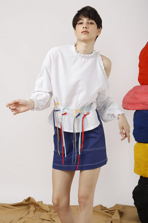 Streamers-Trimmed One Shoulder Cotton Poplin Top
