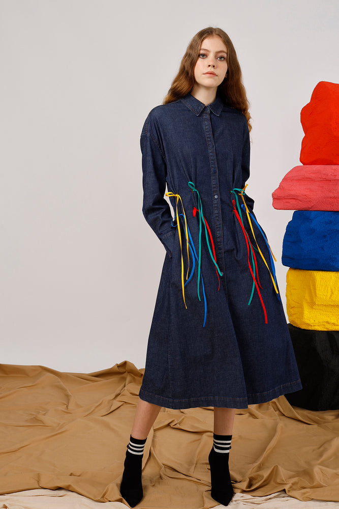 Streamers-Trimmed Cotton Denim Shirt Dress