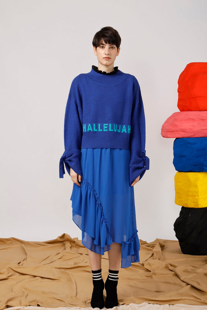 Hallelujah Intarsia Tie-Detailed Sweater - AMENPAPA Fashion