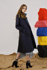 Belted Twill Coat with Pleated Back - AMENPAPA Fashion