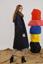 Belted Twill Coat with Pleated Back