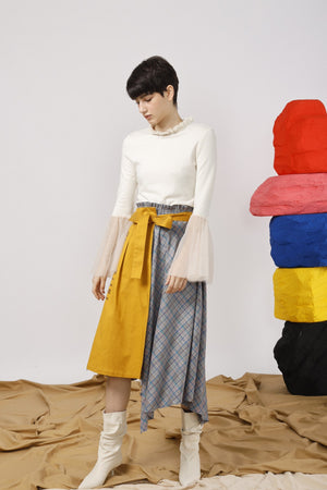 Tulle-Trimmed Jersey Top - AMENPAPA Fashion