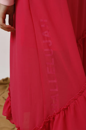 Asymmetric Ruffled Crepe Midi Skirt - AMENPAPA Fashion