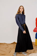 Belted AMEN Embroidered Wide Leg Pant
