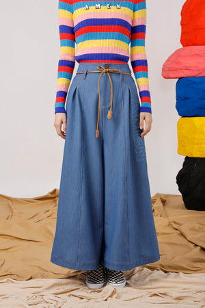 Belted AMEN Embroidered Wide Leg Pant - AMENPAPA Fashion