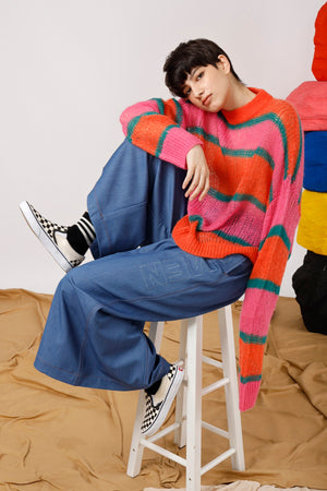 Miracle Jacquard Striped Sweater - AMENPAPA Fashion