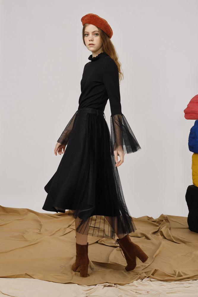 Stretch-Denim and Pleated Tulle Wrap Skirt