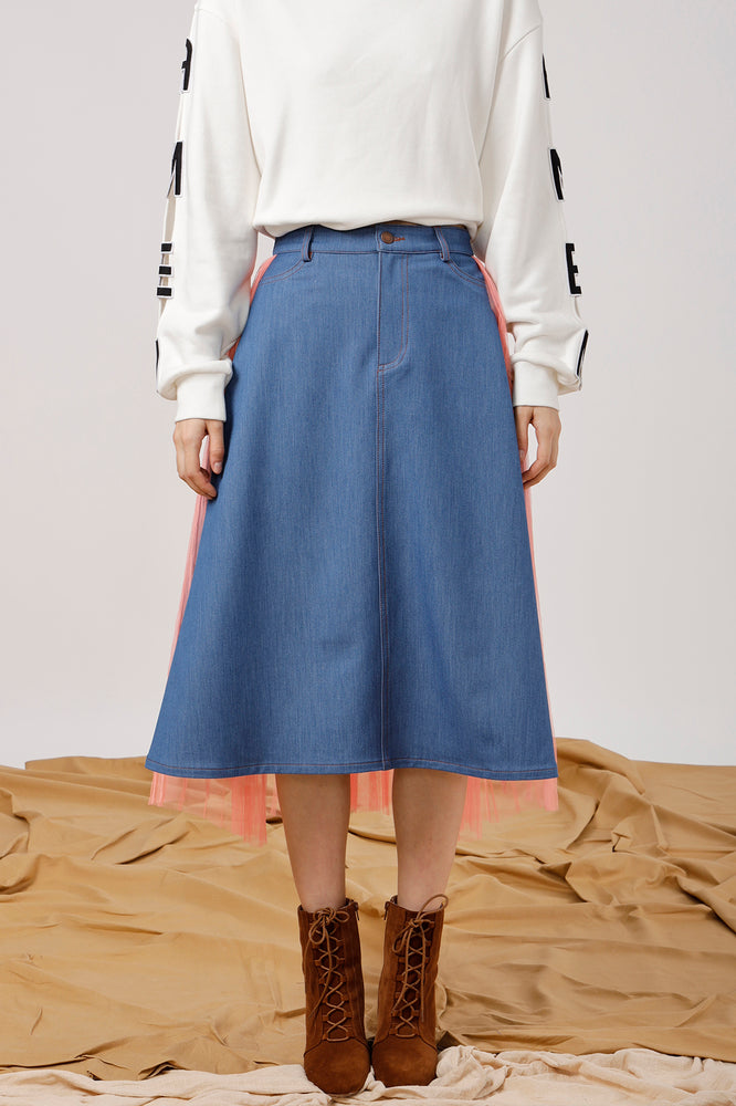 Stretch-Denim and Pleated Tulle Wrap Skirt - AMENPAPA Fashion