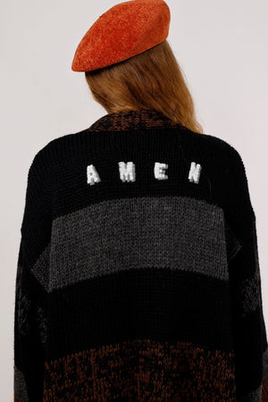 Oversized AMEN Embroidered Cardigan - AMENPAPA Fashion