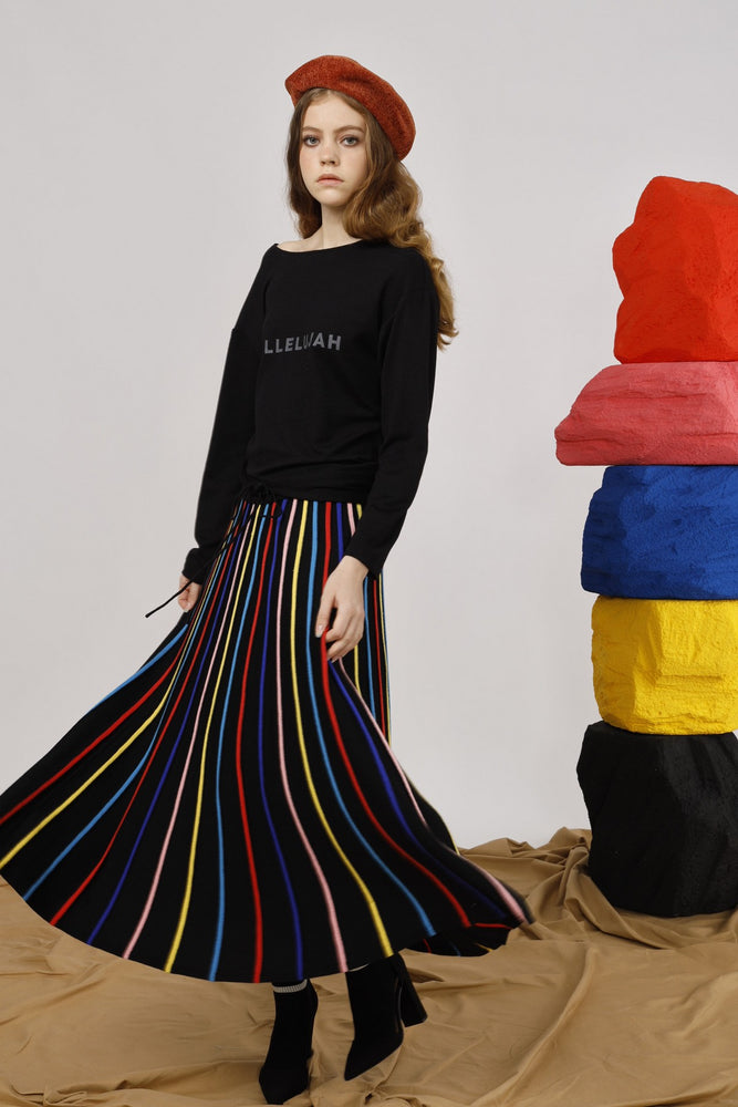 Rainbow Striped Maxi Skirt - AMENPAPA Fashion