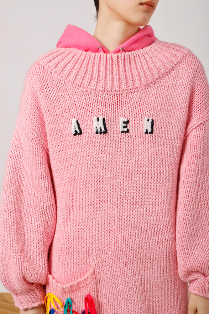 Oversized AMEN Embroidered Knit Dress - AMENPAPA Fashion