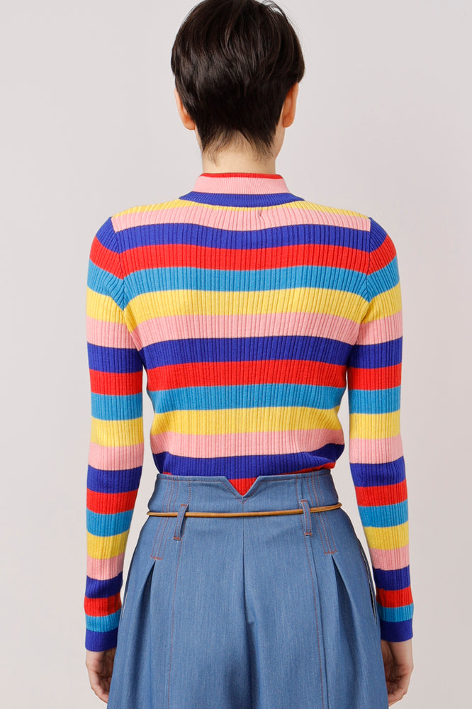 AMEN Embroidered Striped Knit Top - AMENPAPA Fashion