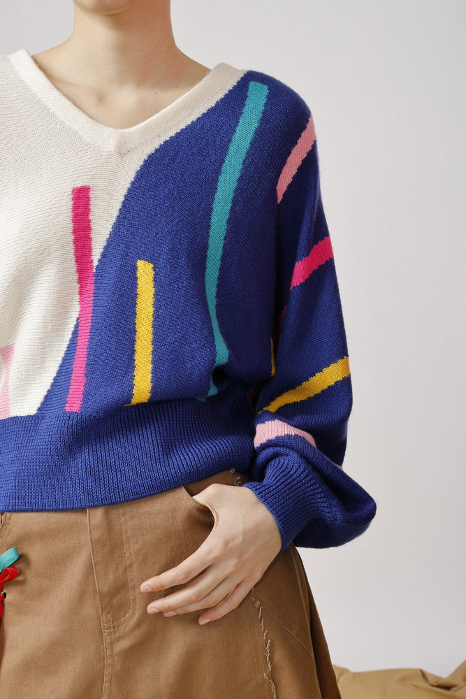 Intarsia V-Neck Sweater - AMENPAPA Fashion
