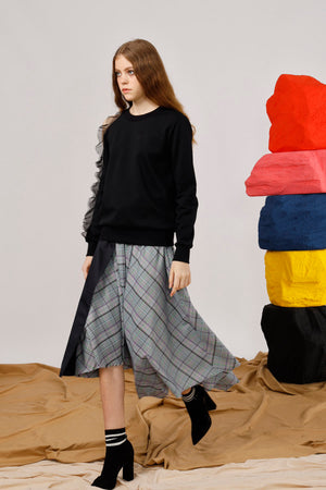 Asymmetric Wrap-Effect Houndstooth Midi Skirt