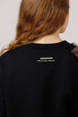 One Shoulder Tulle Trimmed Sweatshirt - AMENPAPA Fashion