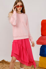 One Shoulder Tulle Trimmed Sweatshirt