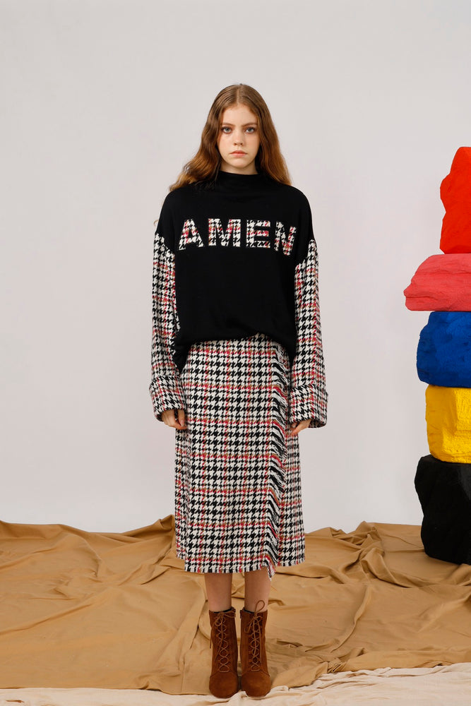 AMEN Appliqued Houndstooth Sweat Top - AMENPAPA Fashion