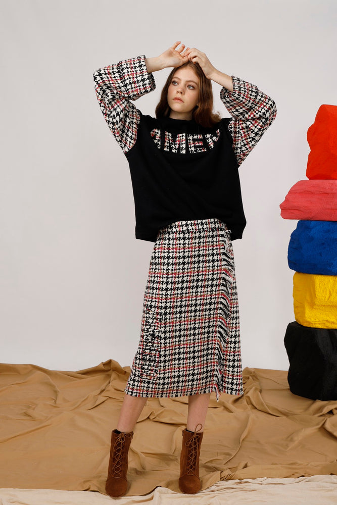 AMEN Appliqued Houndstooth Sweat Top